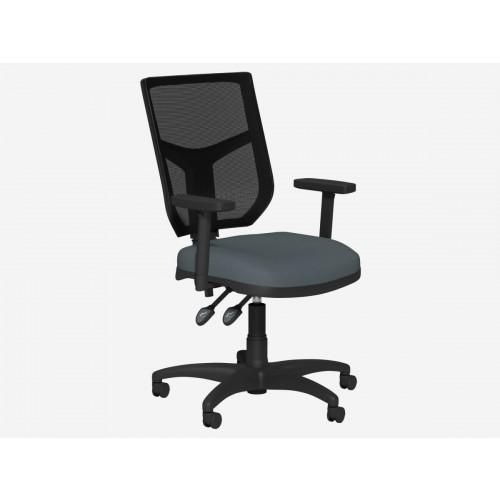 OA Mesh Back Swivel Chair; Adjustable Arms - Grey Fabric