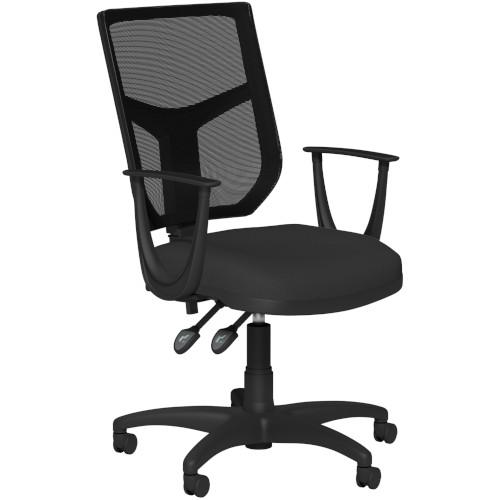 OA Mesh Back Swivel Chair; Fixed Arms Black