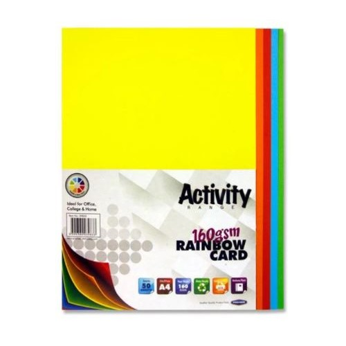Premier A3 160gsm Activity Card.  Pack 50 Sheets.   Rainbow