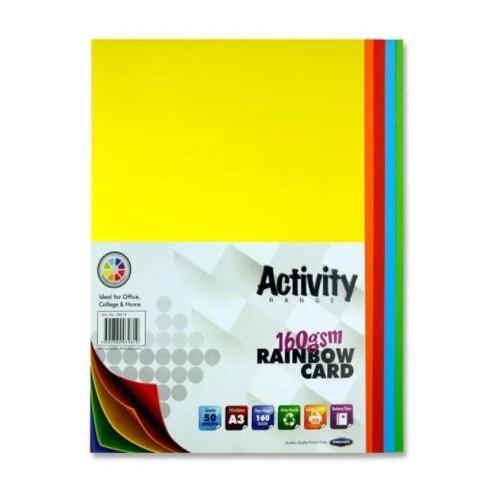 A4 160gsm Activity Card 250 Sheets Rainbow