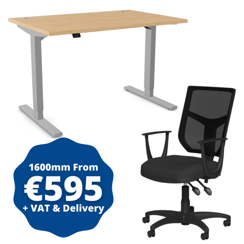 Zoom Sit/Stand Desk 1600mm Silver Frame/Beech & OA Mesh Fixed Arm Chair Black