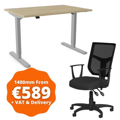 Zoom Sit/Stand Desk 1400mm Silver Frame/Urban Oak & OA Mesh Fixed Arm Chair Black