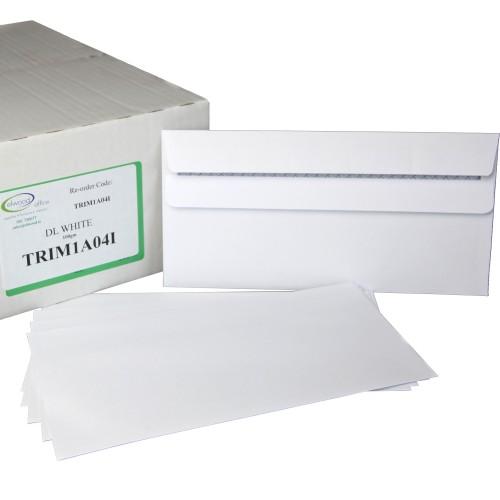 DL 110x220mm Kestrel White 100gsm Opaqued Self Seal Envelope, Plain.  Box 500