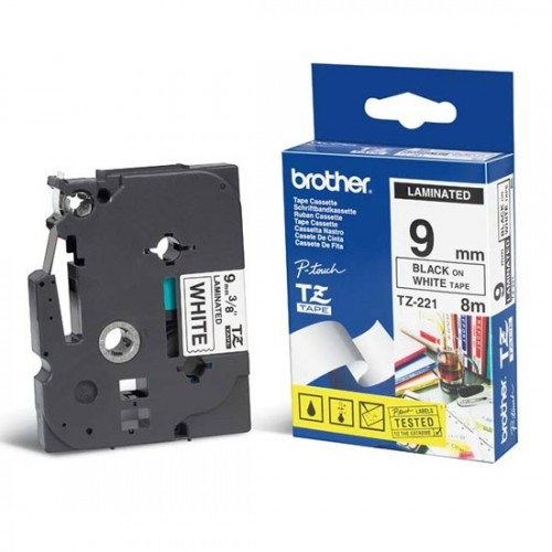 Brother P-Touch TZ221 9mm Black on White Laminated Tape