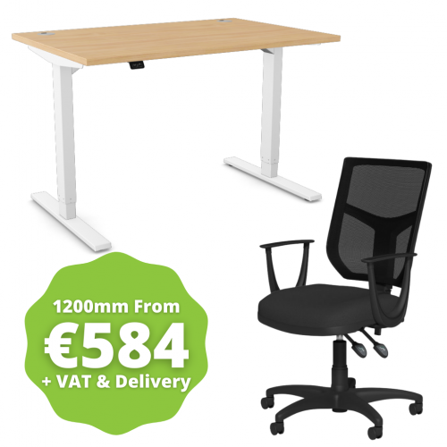 Zoom Sit/Stand Desk 1200mm White Frame/Beech & OA Mesh Fixed Arm Chair Black