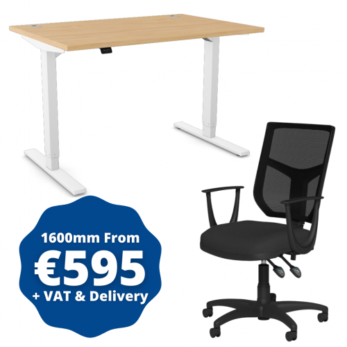 Zoom Sit/Stand Desk 1600mm White Frame/Beech & OA Mesh Fixed Arm Chair Black