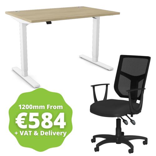 Zoom Sit/Stand Desk 1200mm White Frame/Urban Oak & OA Mesh Fixed Arm Chair Black