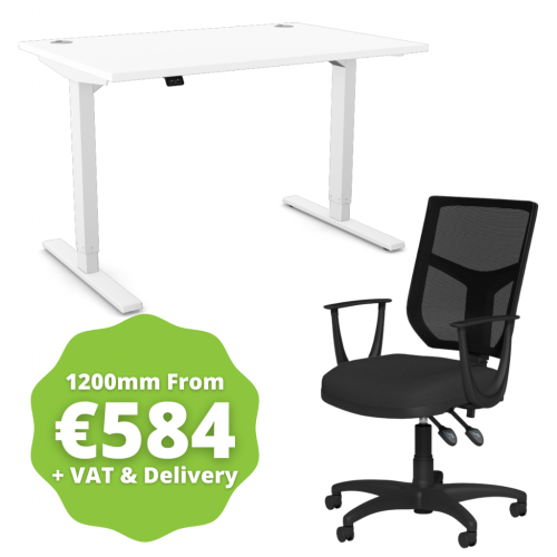 Zoom Sit/Stand Desk 1200mm White Frame/White & OA Mesh Fixed Arm Chair Black