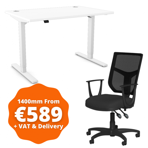 Zoom Sit/Stand Desk 1400mm White Frame/White & OA Mesh Fixed Arm Chair Black