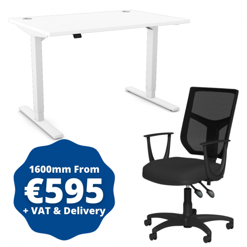 Zoom Sit/Stand Desk 1600mm White Frame/White & OA Mesh Fixed Arm Chair Black
