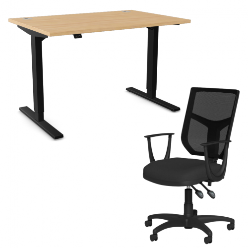 Zoom Sit/Stand Desk 1600mm Black Frame/Beech & OA Mesh Fixed Arm Chair Black