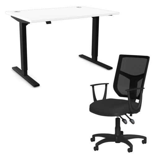 Zoom Sit/Stand Desk 1600mm Black Frame/White & OA Mesh Fixed Arm Chair Black