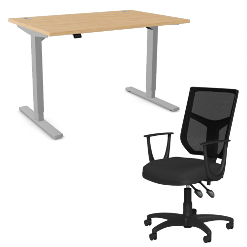 Zoom Sit/Stand Desk 1400mm Silver Frame/Beech & OA Mesh Fixed Arm Chair Black