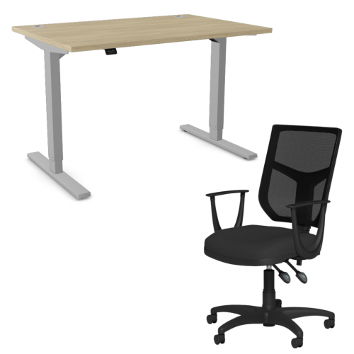 Zoom Sit/Stand Desk 1600mm Silver Frame/Urban Oak & OA Mesh Fixed Arm Chair Black