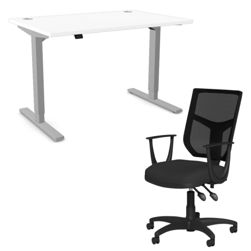 Zoom Sit/Stand Desk 1400mm Silver Frame/White & OA Mesh Fixed Arm Chair Black