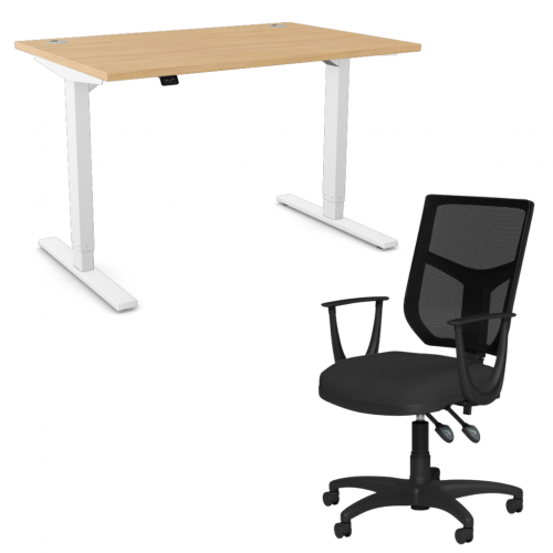 Zoom Sit/Stand Desk 1400mm White Frame/Beech & OA Mesh Fixed Arm Chair Black