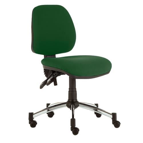 Solitaire Mid Back Chair, -Arms, Sil/Grn