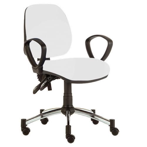 Solitaire M/Back Chair, Fix Arm, Sil/Wht