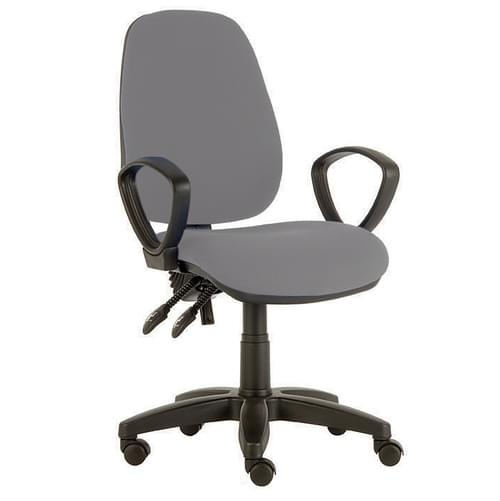 Solitaire H/Back Chair, Fix Arm, Blk/Gry