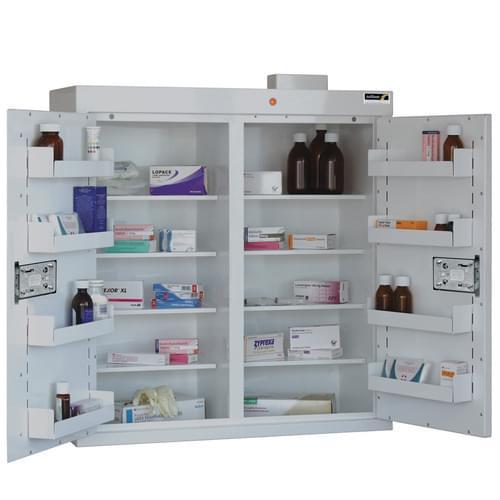 Med.Cabinet,8Sh,8 Tr,2 Door 85x80x30cm