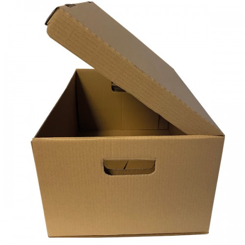 TO CLEAR: Strong Brown Flip Top Lid Storage Box Plain Internal (WxDxH)448x365x258mm