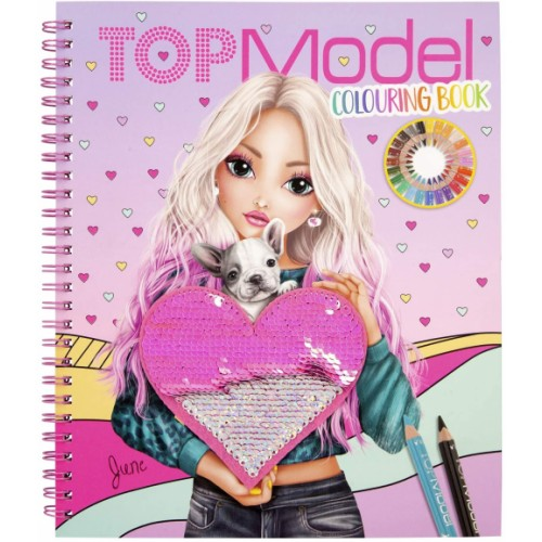 TopModel Colouring Book with Sequins