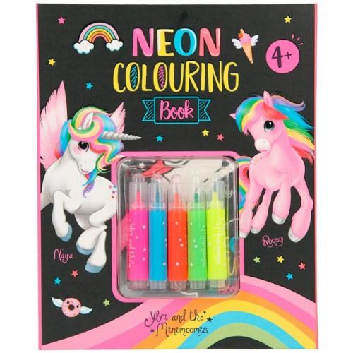 Neon Colouring Book Set with 5 Fibre-Tip Pens