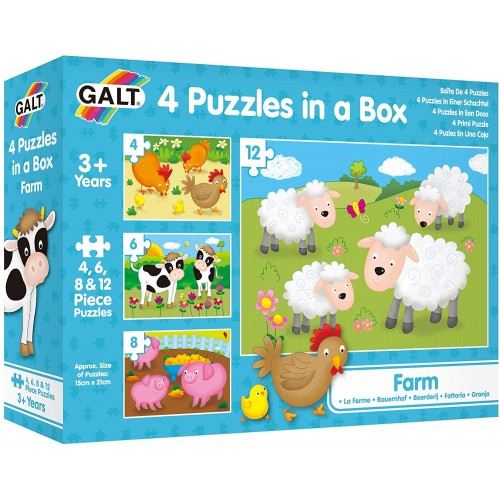 Galt Toys, 4 Puzzles In A Box - Farm