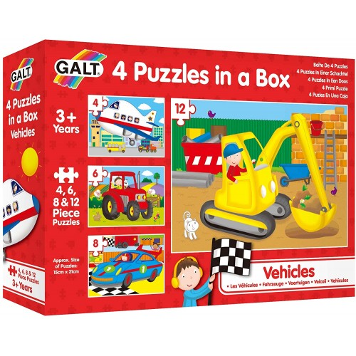 Galt Toys, Four Puzzles in a Box - Vehicles