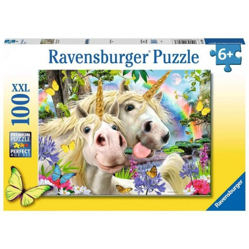 Ravensburger 12898 Unicorn Selfies Don't Worry, Be Happy 100 Jigsaw Puzzle with Extra Large Pieces