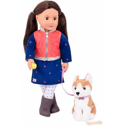 Our Generation Leslie and Pet Husky Doll