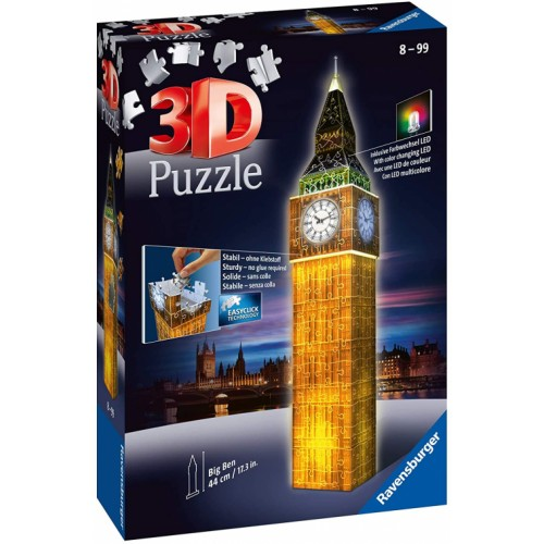Ravensburger Big Ben Night Edition 216 Piece 3D Jigsaw Puzzle with LED Lighting