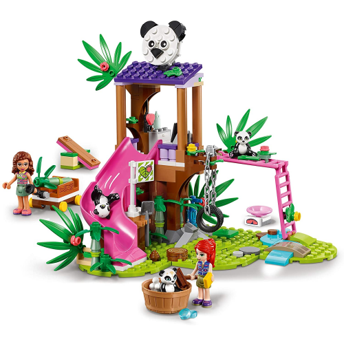 LEGO 41422 Friends Panda Jungle Tree House Playground Set with Olivia & Animals Figures, Jungle Rescue Series