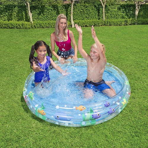 Bestway BW51004-20 Inflatable Play Pool, Deep Dive 3-Ring sea Theme for Kids