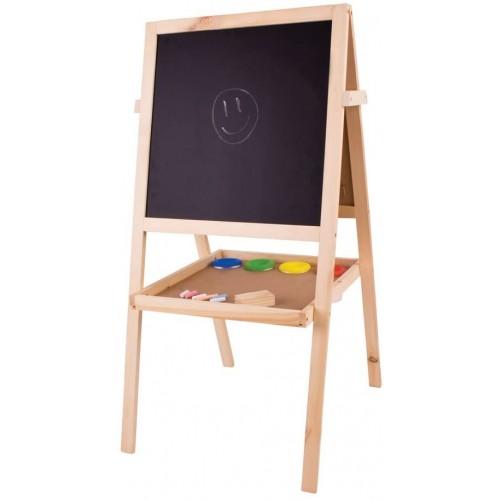 Bigjigs Toys Junior Art Easel with Chalks, Paint Pots, Paper Roll & Board Eraser