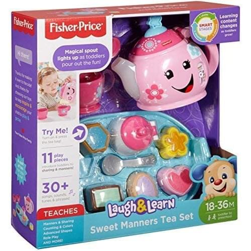 Fisher-Price DYM76 Laugh and Learn Sweet Manners Tea Playset, Toddler Role Play Tea Set Toy for Children with Educational Shape Sorter, Suitable 18 Months Plus