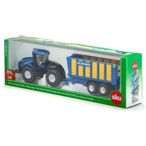 Siku New Holland Tractor with Silage Trailer