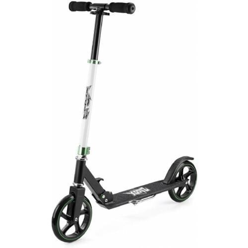 Xootz Big Wheel Scooter for Kids, Foldable with Adjustable Handlebars - Black