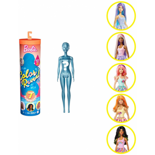 Barbie Color Reveal Doll with 7 Surprises 4 Mystery Bags, Surprise Wig, Skirt, Shoes & Sponge; Sunny N Cool Series