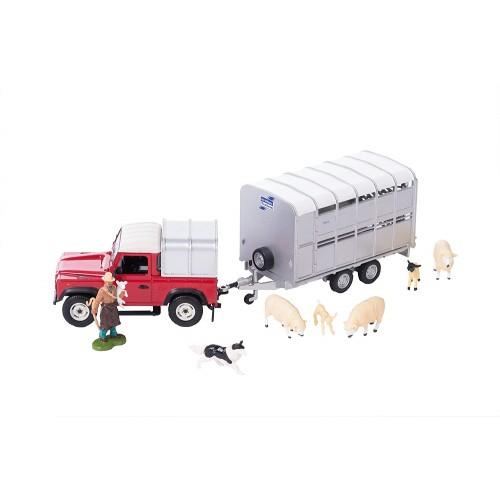 Britains Sheep Farmer Set Land Rover & Trailer
