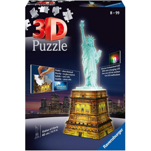 Ravensburger 12596 Statue of Liberty Night Edition 108 Piece 3D Jigsaw Puzzle
