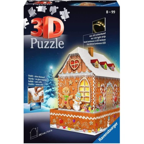 Ravensburger Christmas Gingerbread House Night Edition 216 Piece 3D Jigsaw Puzzle with LED Lighting