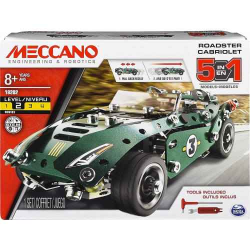 Erector by Meccano, 5 in 1 Roadster Pull Back Car Building Kit