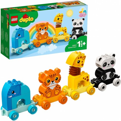 LEGO DUPLO My First Animal Train with Elephant, Tiger, Panda and Giraffe for Toddlers