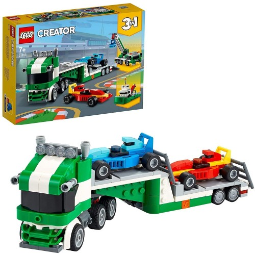 LEGO Creator 3 in 1 Race Car Transporter Toy Truck with Trailer, Crane and Tugboat Building Set