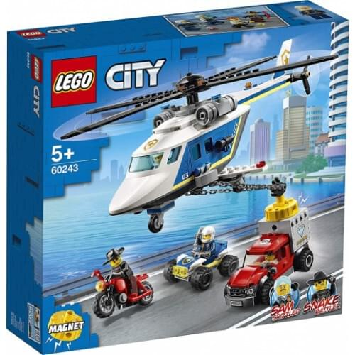 LEGO 60243 City Police Helicopter Chase Toy with ATV Quad Bike, Motorbike and Truck, Building Set for 5 Year Old