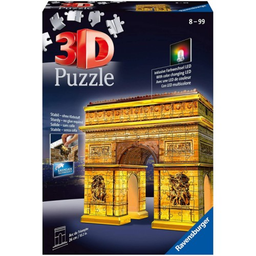 Ravensburger Arc De Triomphe Night Edition 216 Piece 3D Jigsaw Puzzle with LED Lighting