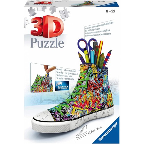 Ravensburger Graffiti Trainer 3D Jigsaw Puzzle for Kids Age 8 Years Up - 108 Pieces - Shoe - Sneaker - Pencil Pot