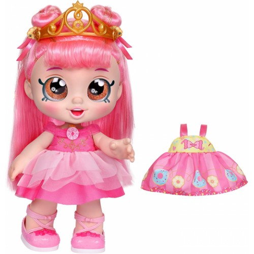 Kindi Kids Toddler Doll - Donatina Princess Dress Up - Includes 2 Outfits and Shopkins Accessories