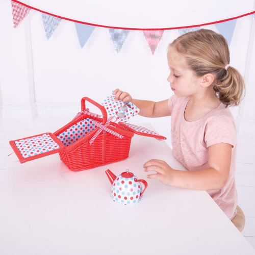 Bigjigs Toys Colorful Polka Dot Tea Set and Basket - Role Play Toys and Play Sets